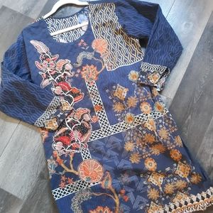 Bohemian Floral Embroidered Tunic Top / Dress L-XL